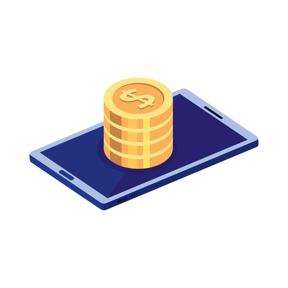 smartphone device with pile coins vector