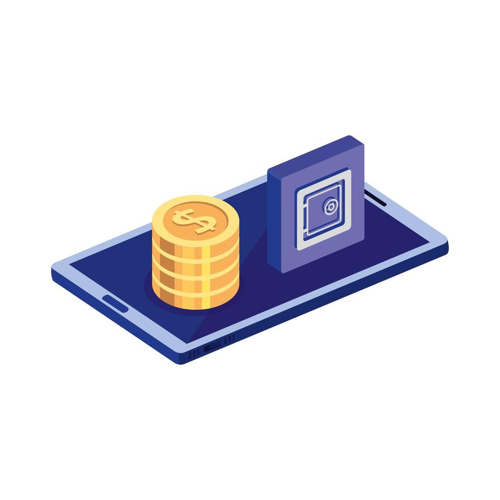 smartphone with pile coins and menu app vector
