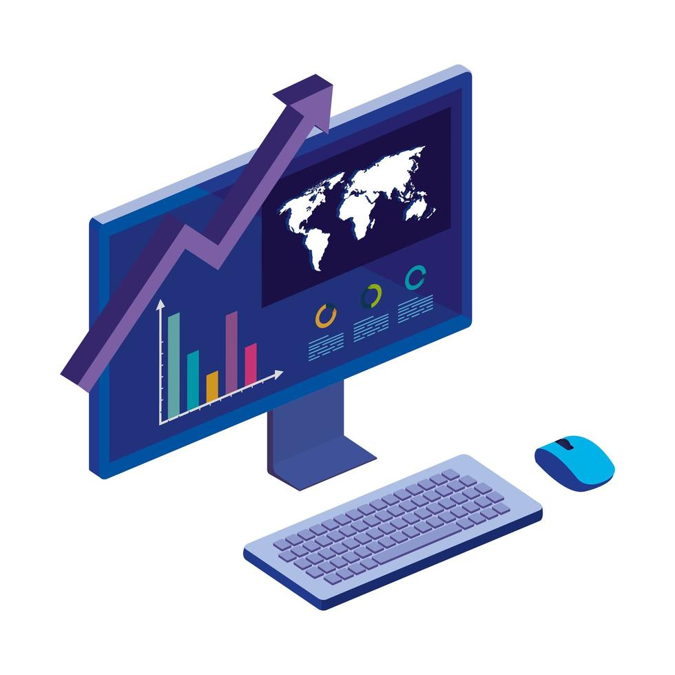 computer desktop with statistic graph and map vector