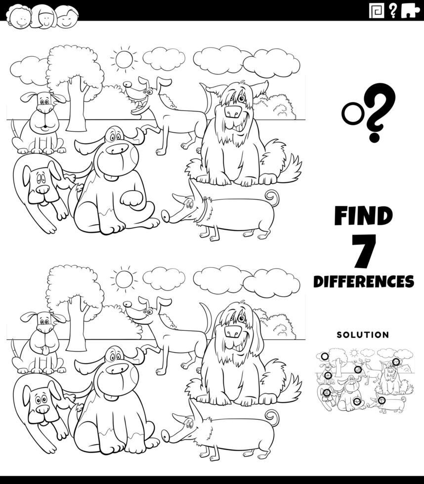 Diferencias juego educativo con perros página de libro para colorear vector
