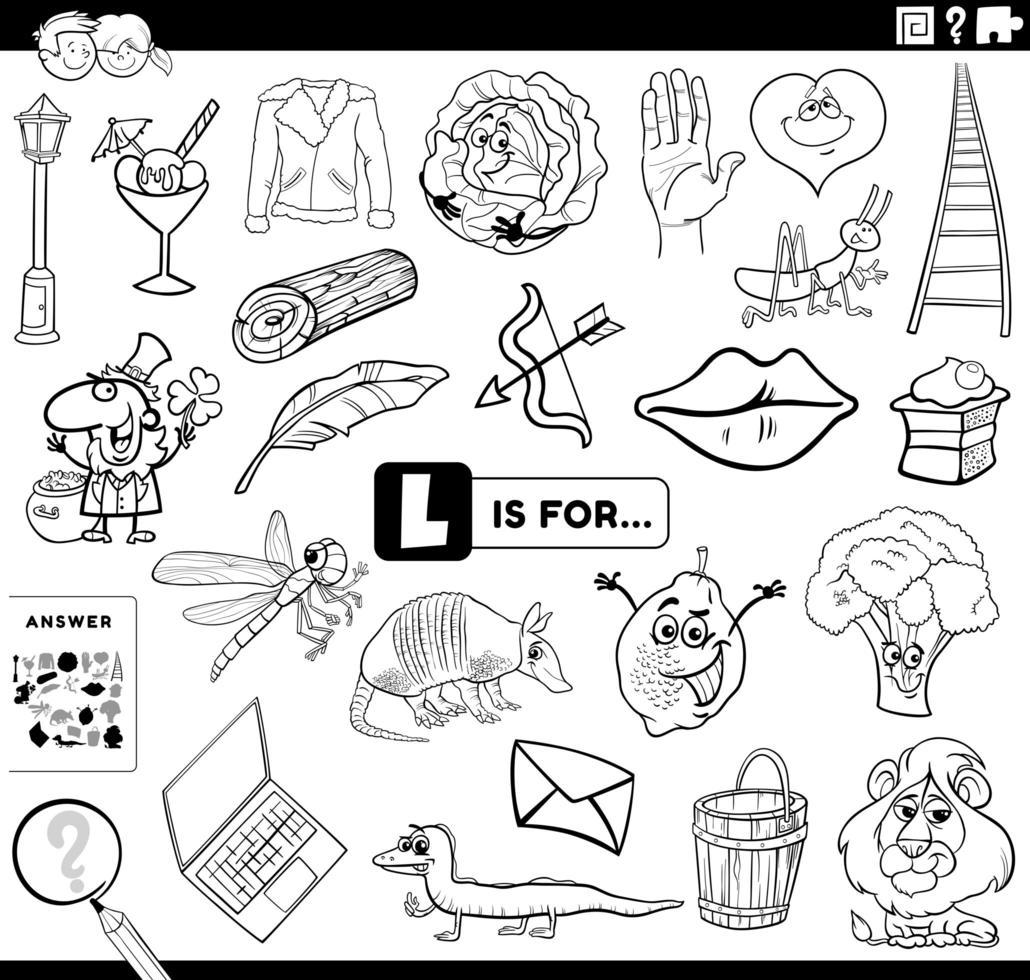 Letra l tarea educativa libro para colorear página vector