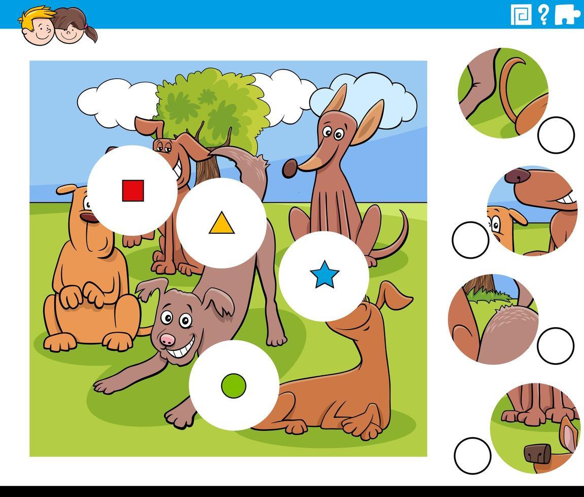 Combina piezas de rompecabezas con divertidos personajes de perros vector