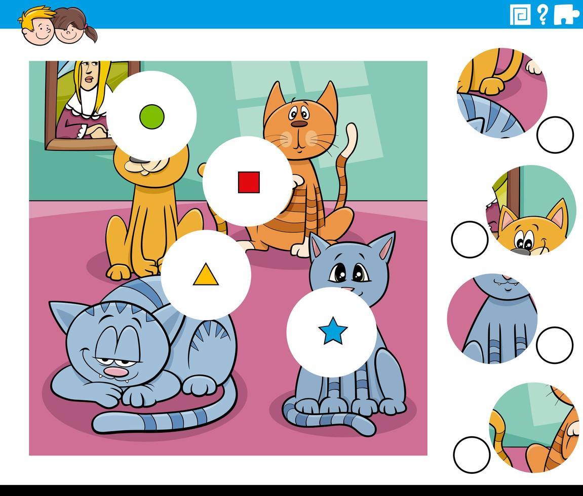 Combina piezas de rompecabezas con divertidos personajes de gatos vector