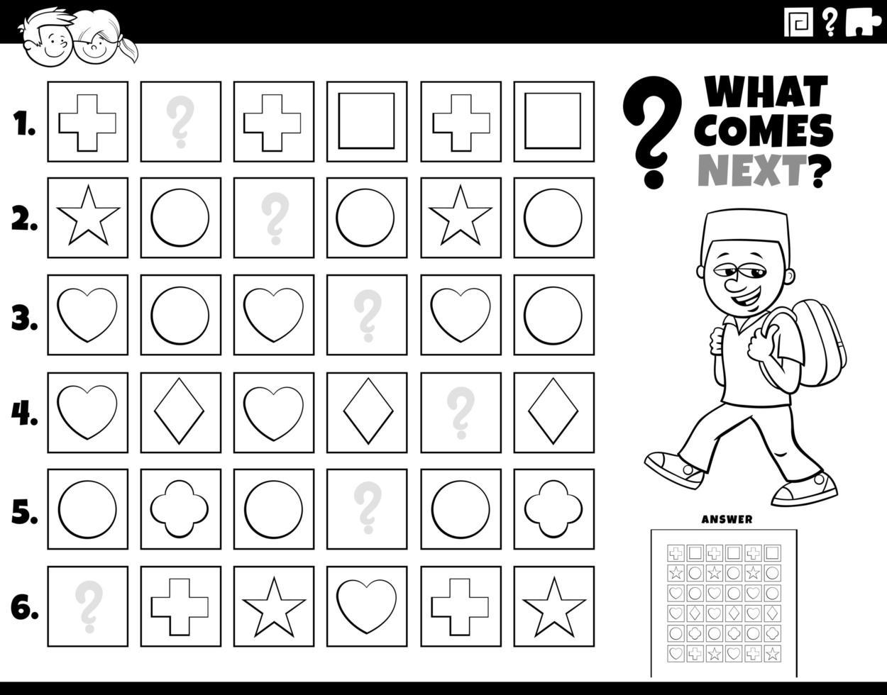 Completar la tarea de patrón para niños página de libro para colorear vector