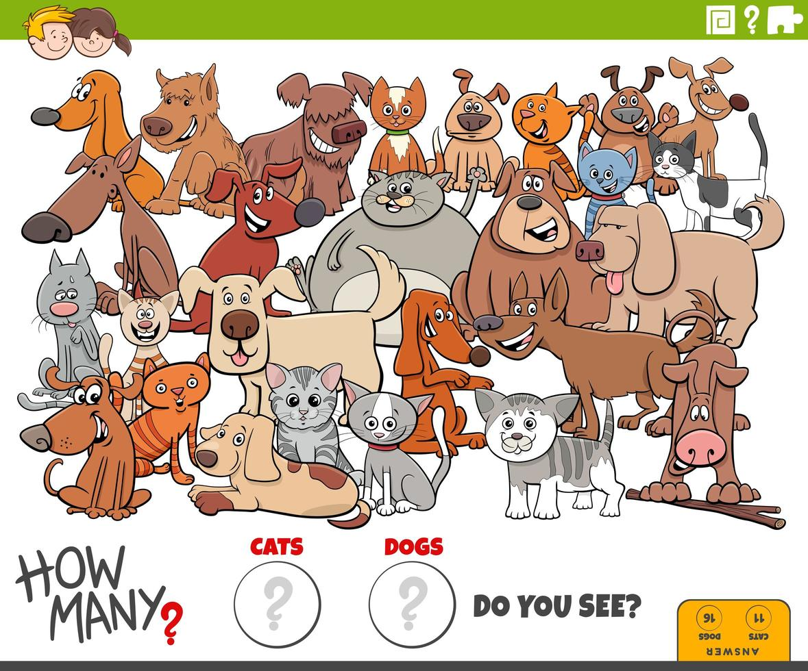 how many cats and dogs educational task for children vector