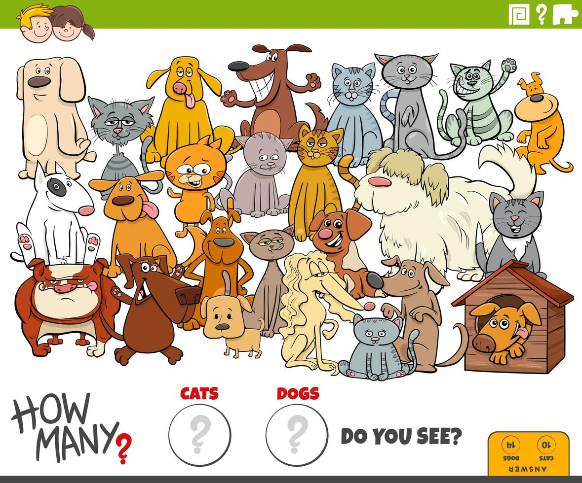 how many dogs and cats educational task for kids vector