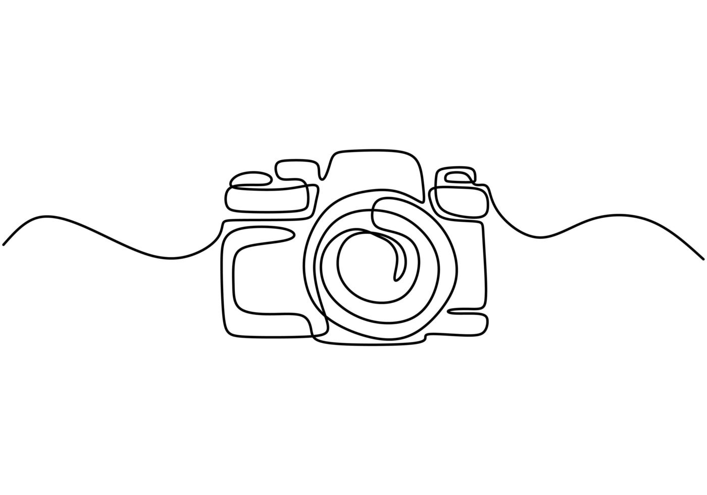 One line drawing of camera linear style. Black image isolated on white background. Hand drawn minimalism style vector illustration