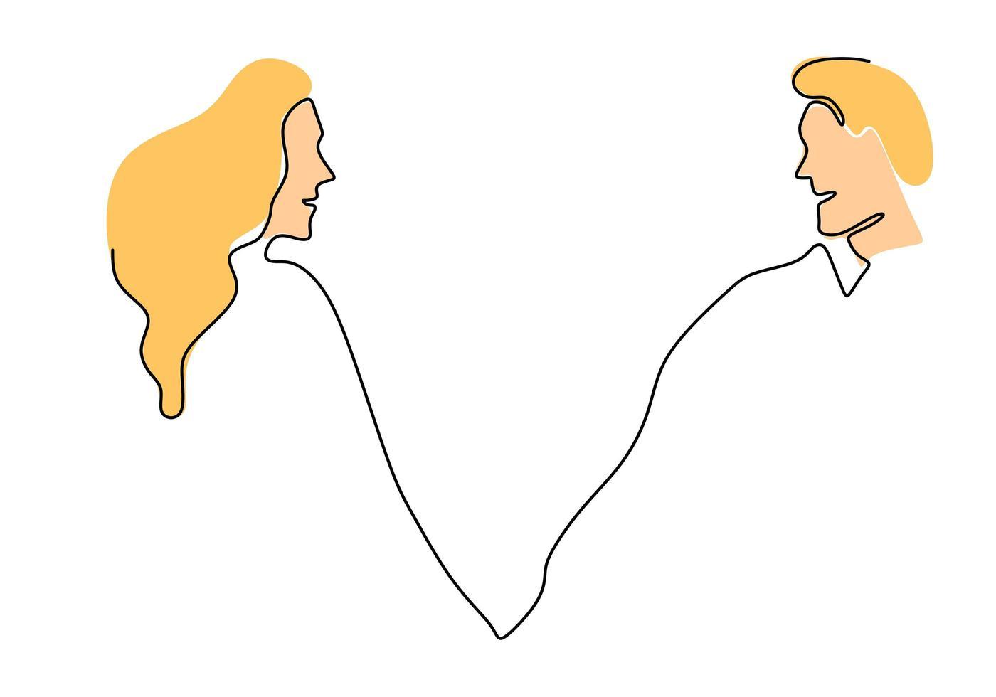 Minimalismo de pareja de una línea. ilustración vectorial romance y relación. vector