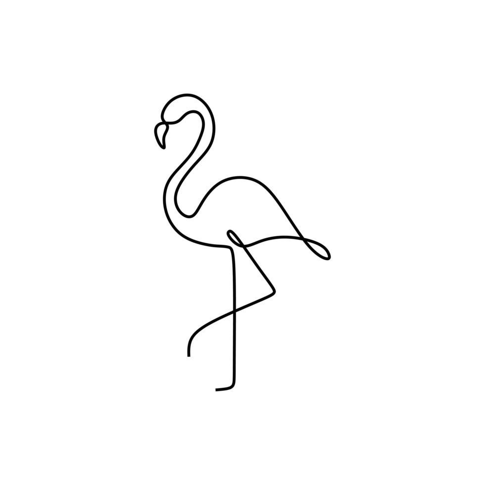 dibujo de una línea de flamenco. símbolo de verano dibujado a mano continua. elemento decorativo con estilo. ilustración vectorial, buena para carteles y pancartas de estilo minimalista. vector