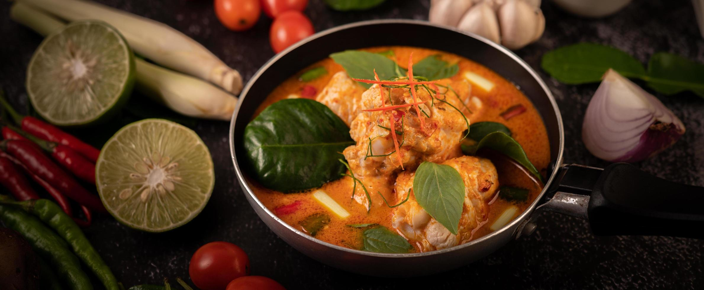 Curry Made With Chicken Chili And Basil And Tomato Stock Photo