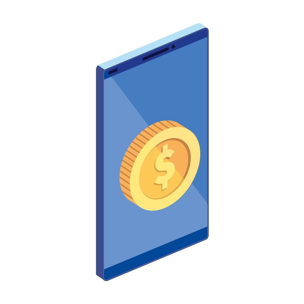 smartphone device with coin isolated icon vector
