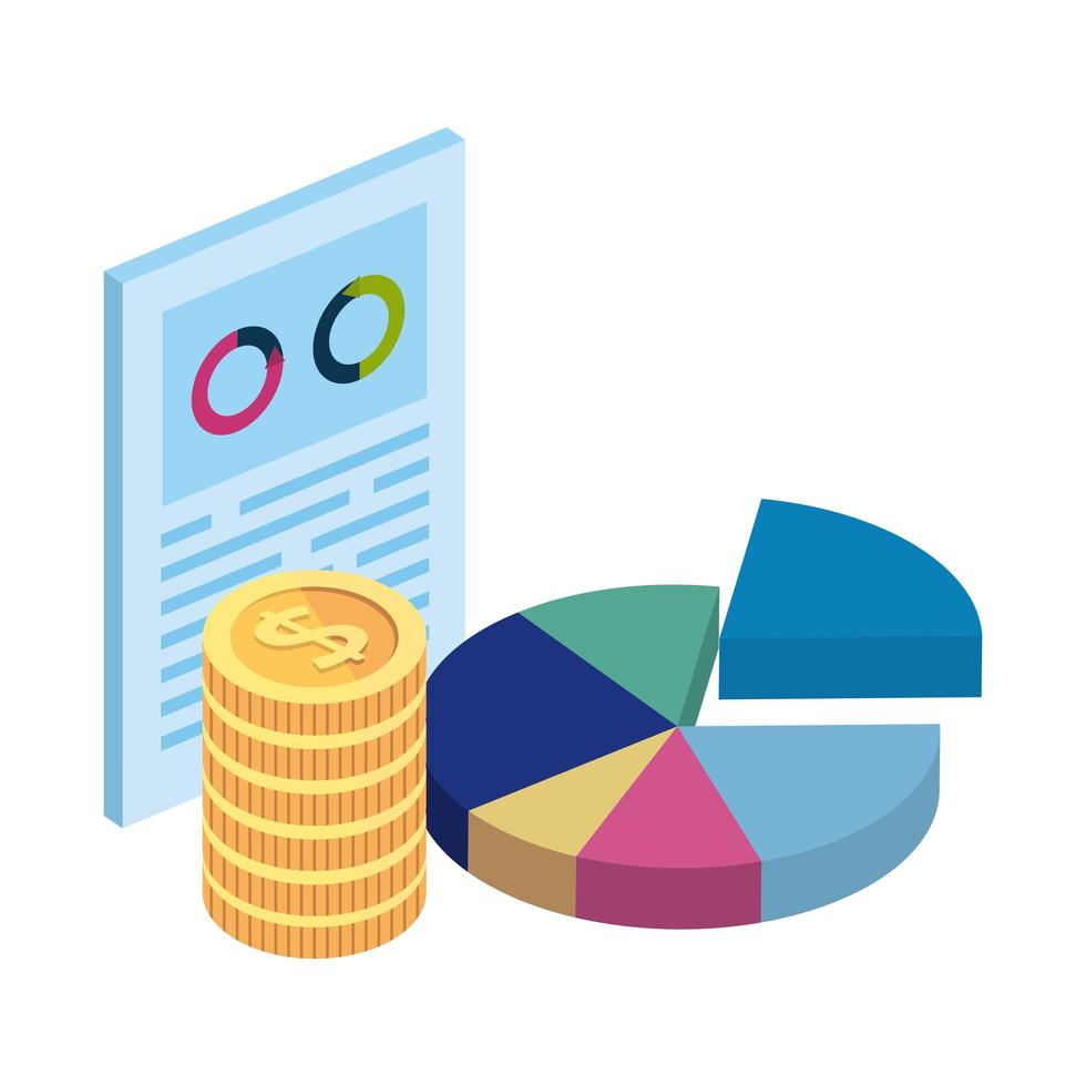 document with circular statistical and pile coins vector