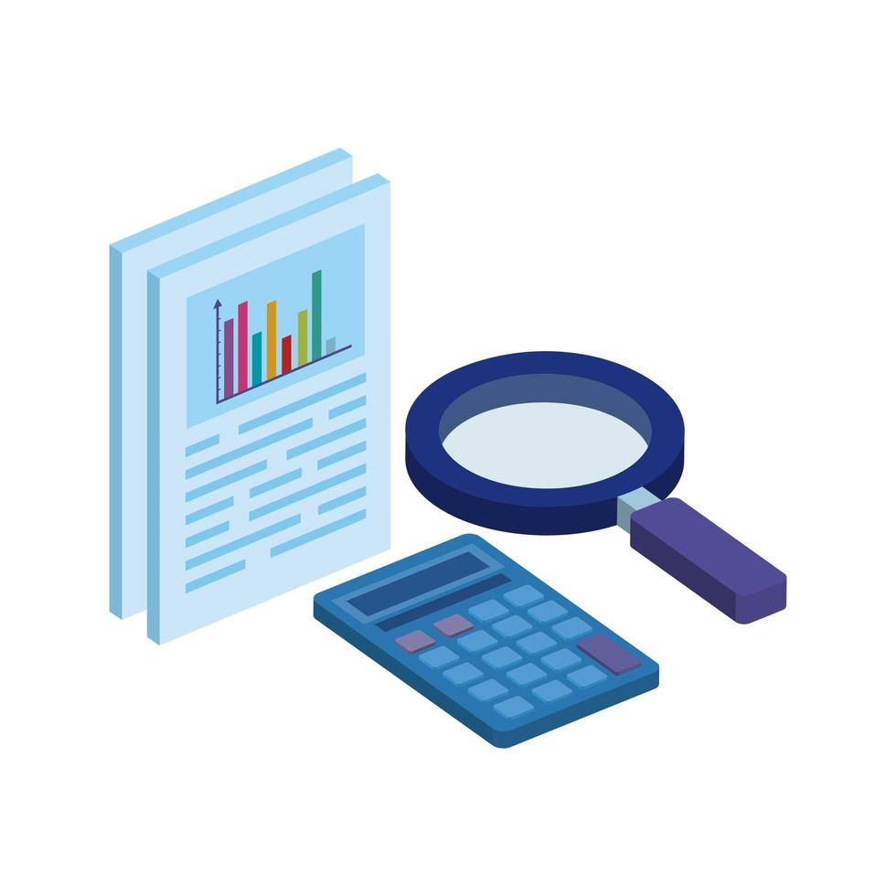 document with magnifying glass and calculator vector