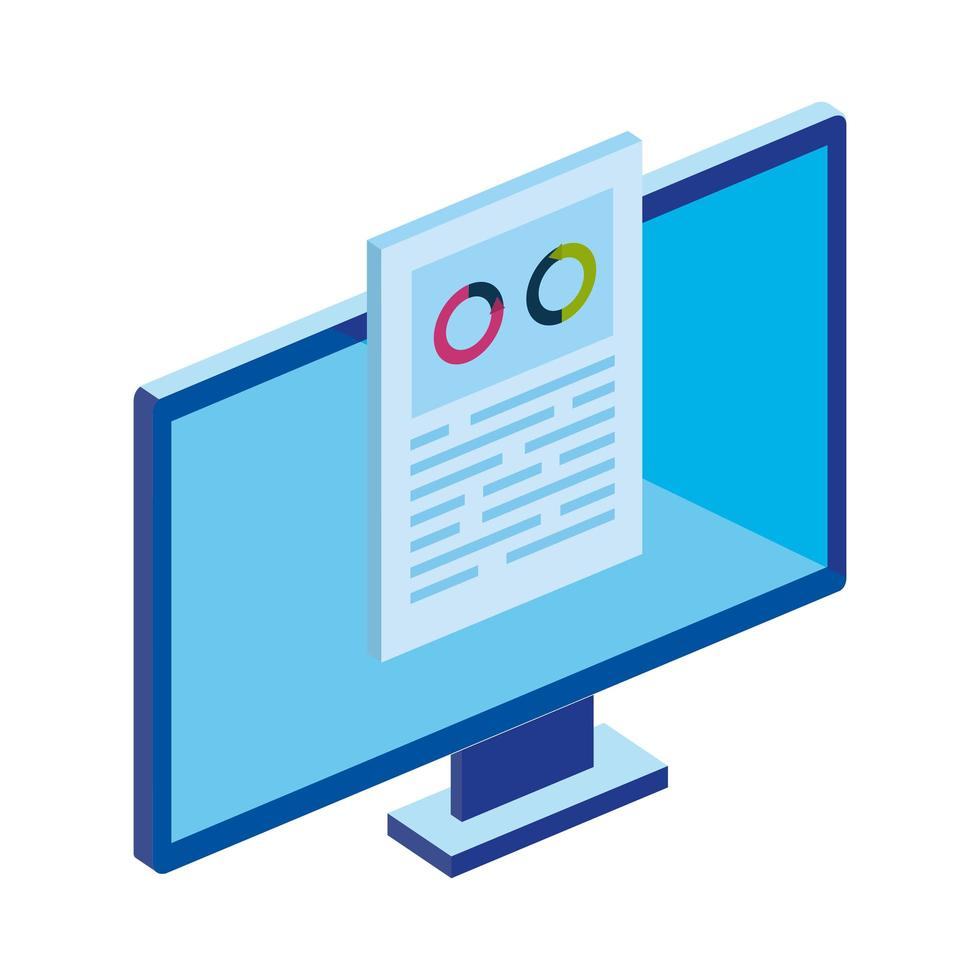 computer desktop with circular statistical vector