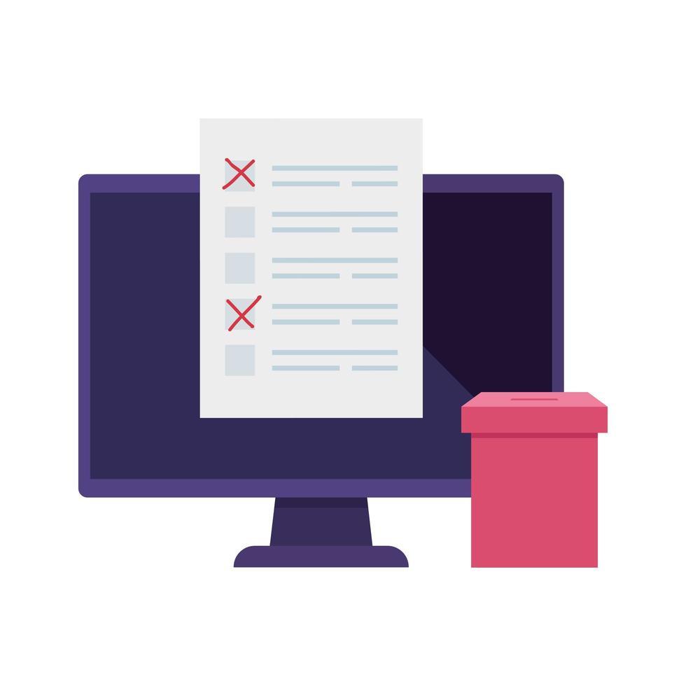 Computadora para votar en línea icono aislado vector