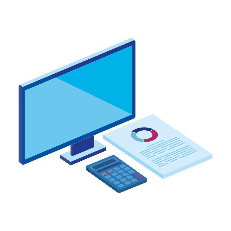 computer desktop with calculator and document vector