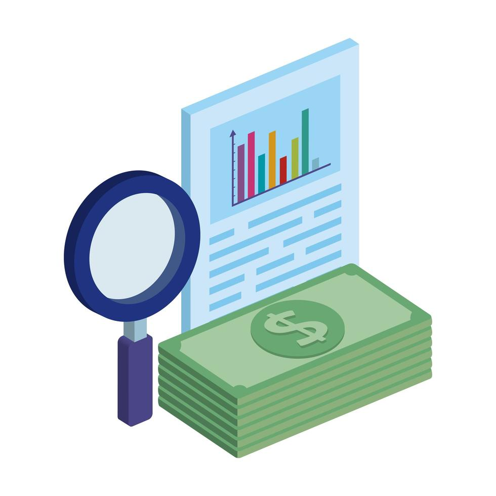 document with magnifying glass and stack bills vector