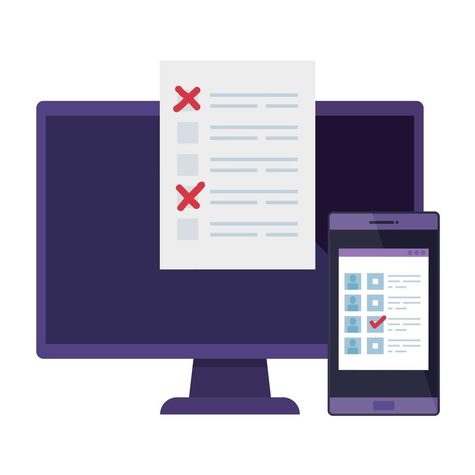 Ordenador con smartphone para votar icono aislado en línea vector