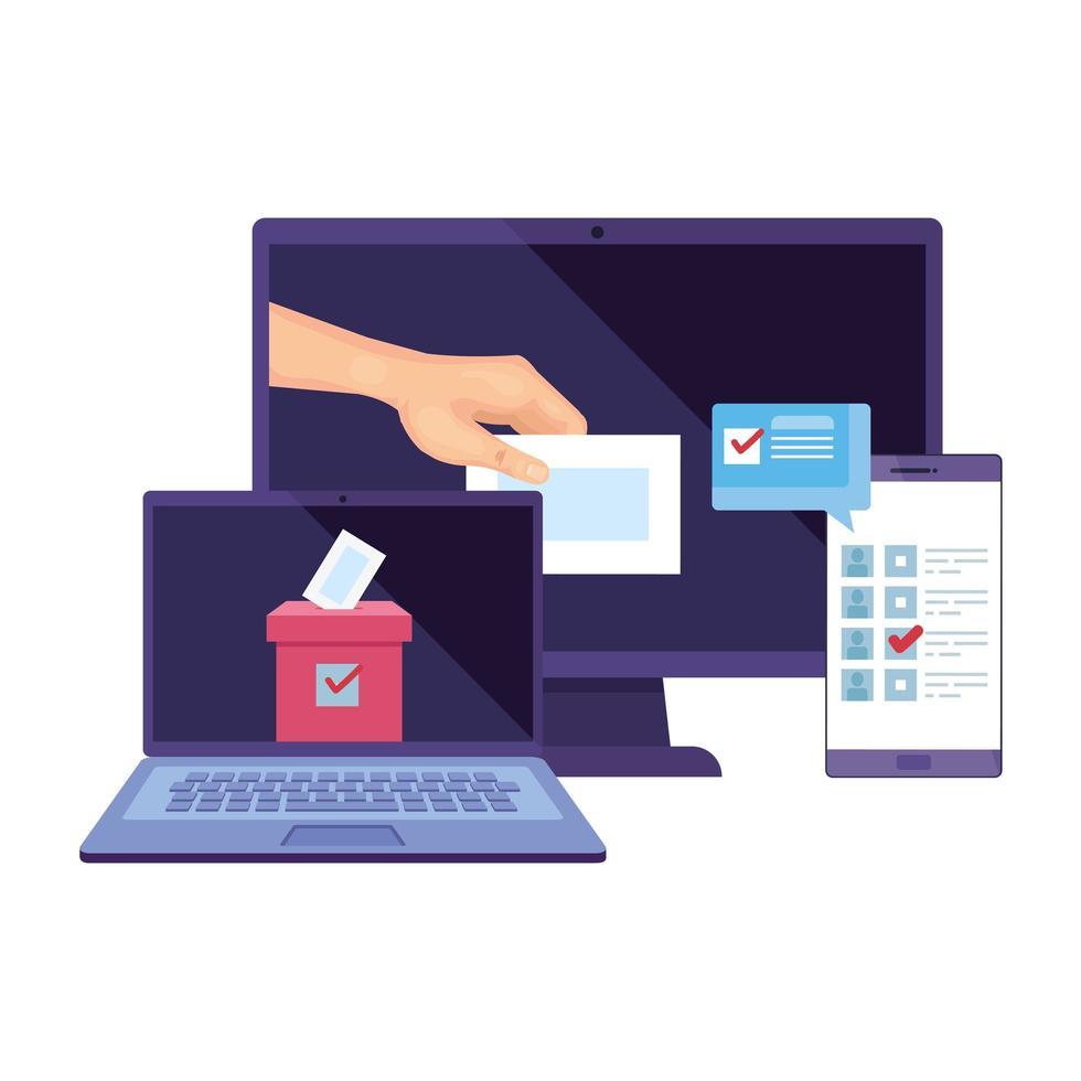 Ordenador portátil con ordenador para votar en línea icono aislado vector