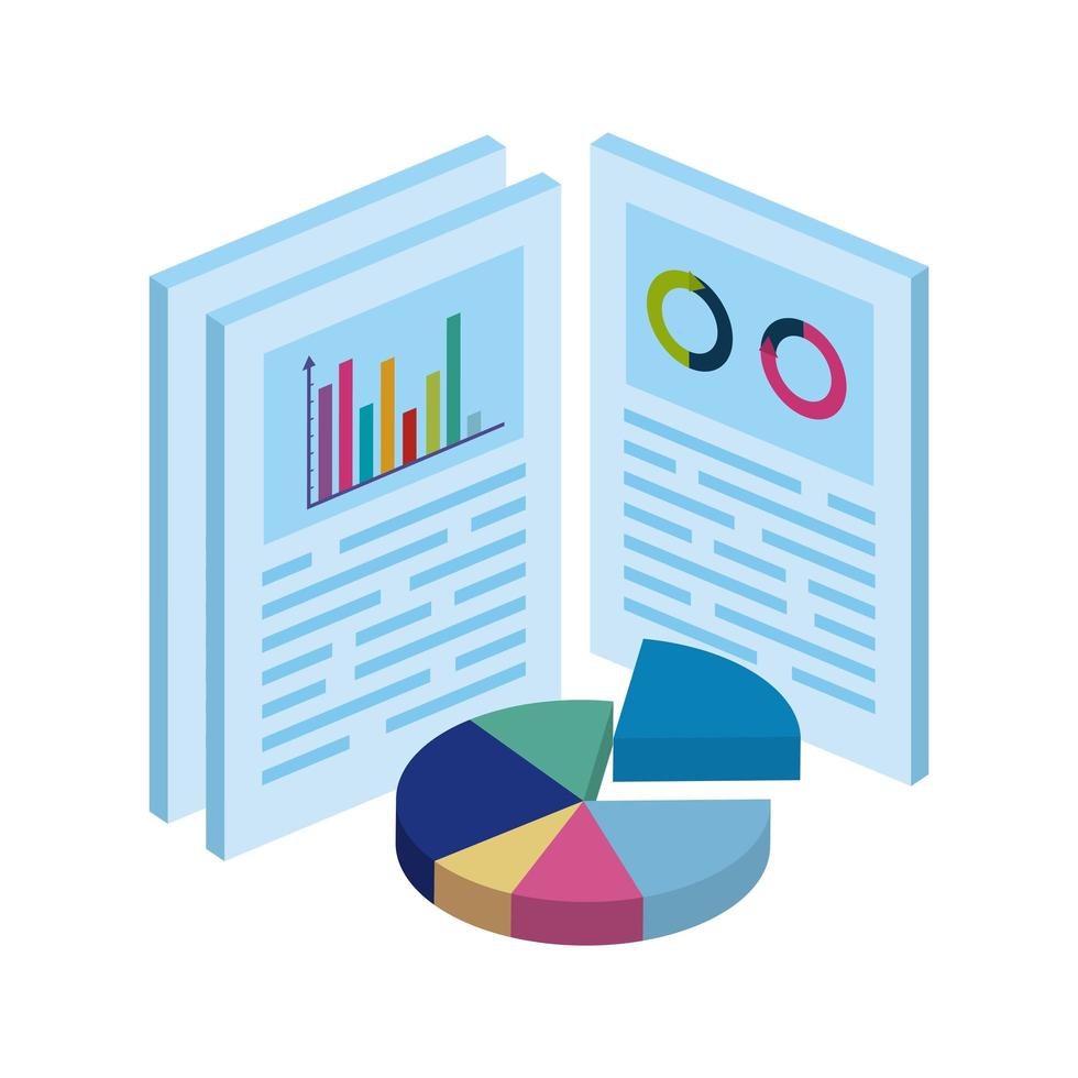 documents with circular statistical graph isolated icon vector
