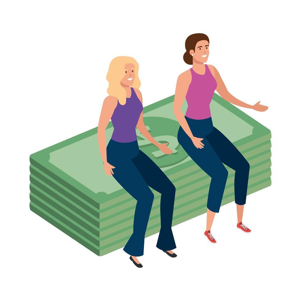hermosas mujeres sentadas en la pila de facturas finanzas vector