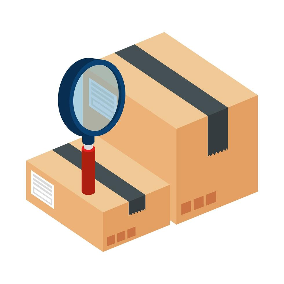 boxes package with magnifying glass vector
