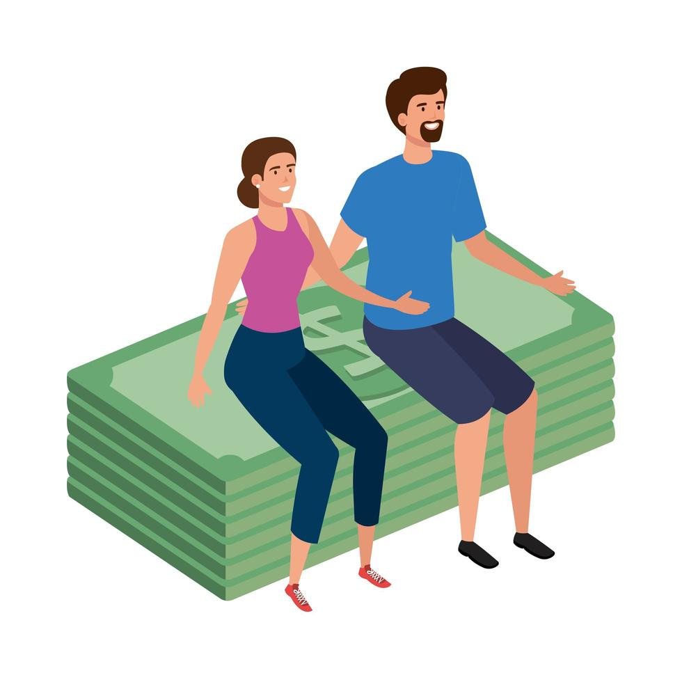 young couple sitting in stack bills finance vector