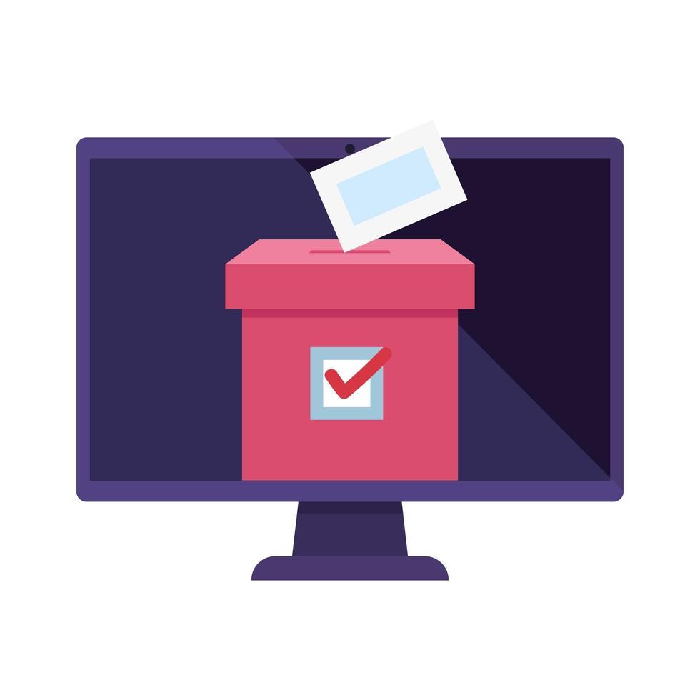 computadora para votar en línea con urna vector