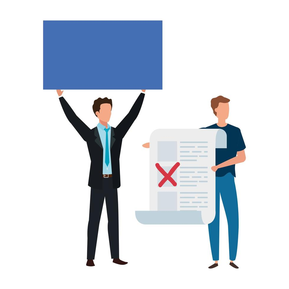 men with vote form isolated icon vector