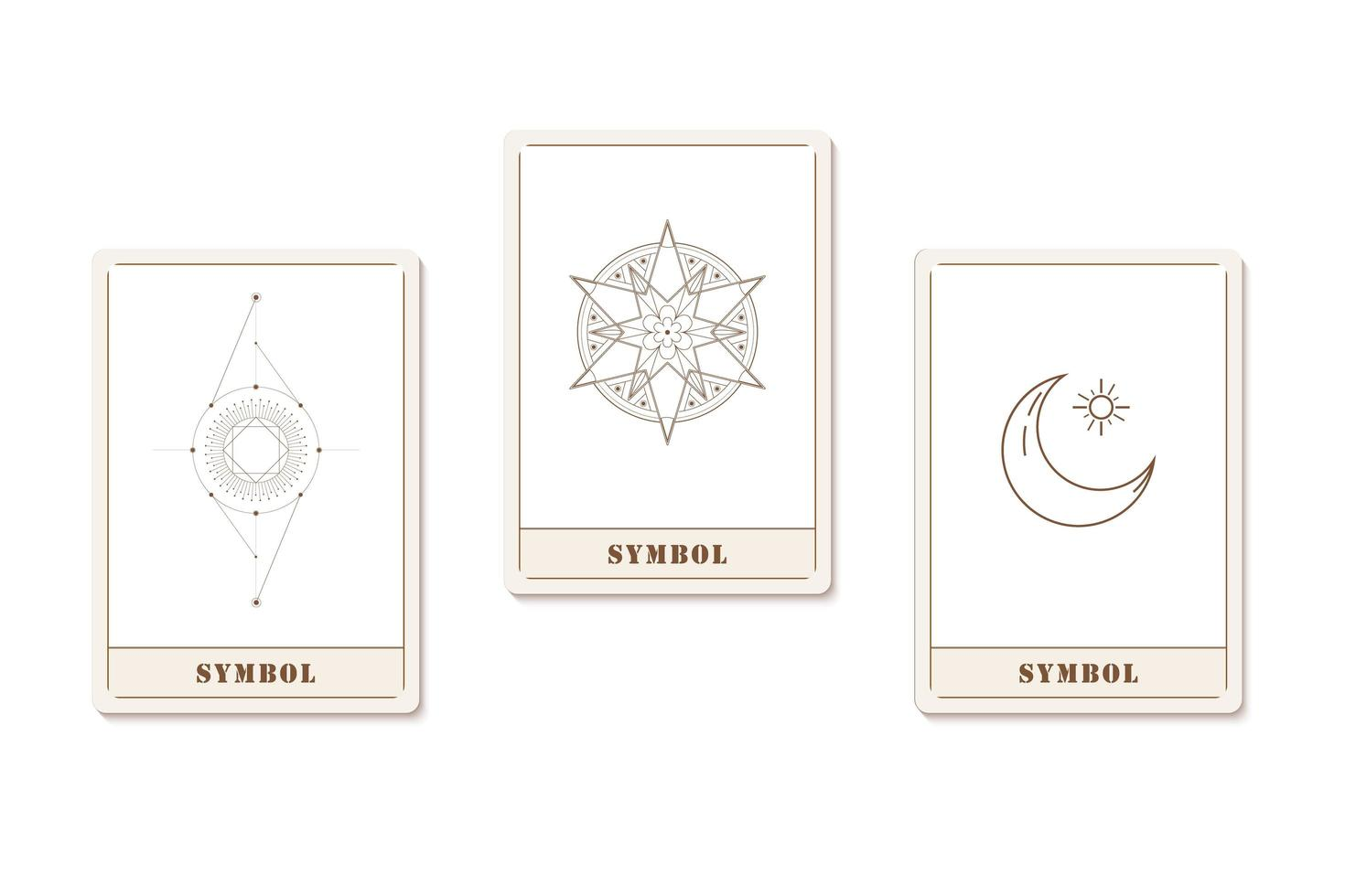 Set of a cards with astrology geometric icons vector