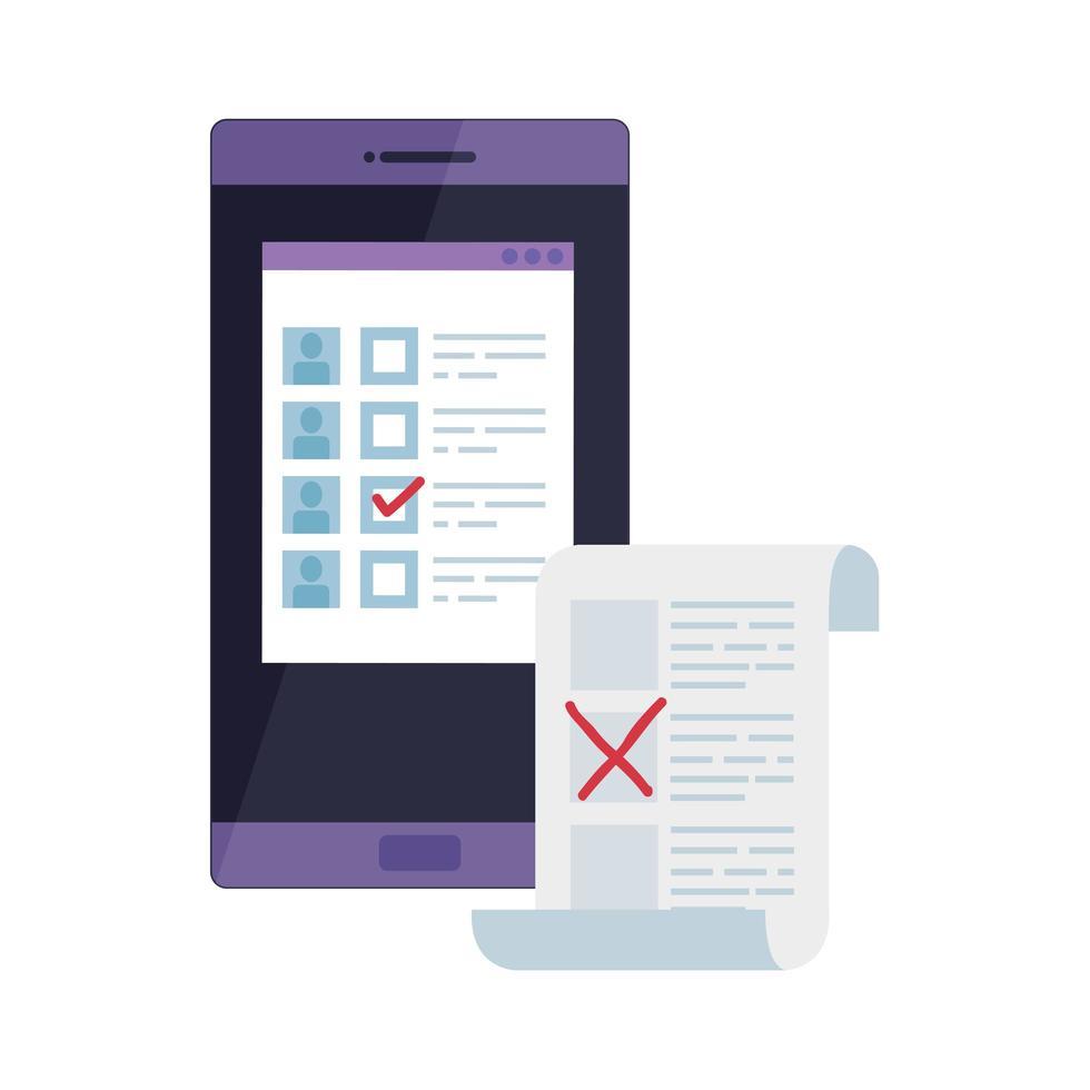 Smartphone para votar en línea icono aislado vector