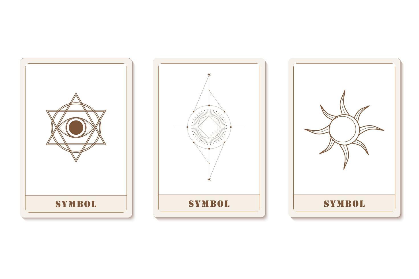 conjunto de tarjetas de moda de astrología con iconos geométricos vector