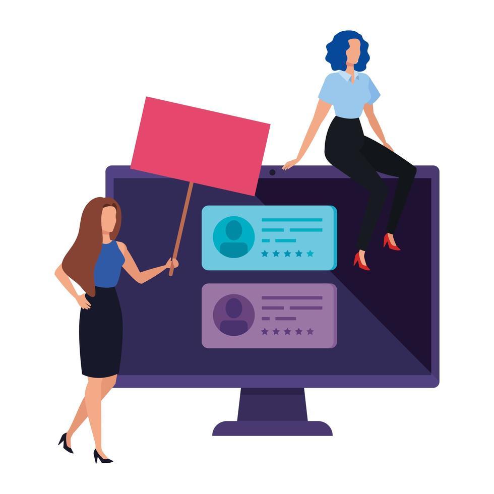 mujeres empresarias con computadora para votar en línea vector