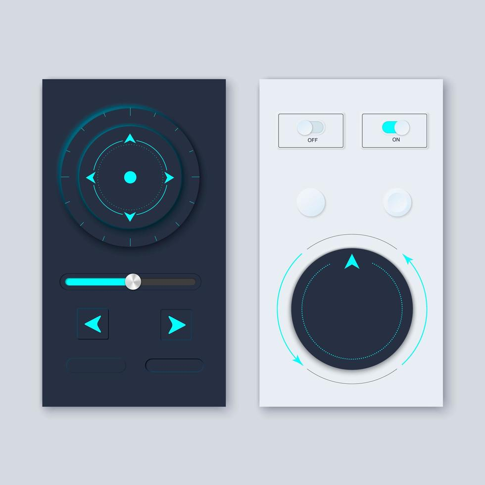 Neumorphic UI circle Workflow graphic elements design kit vector