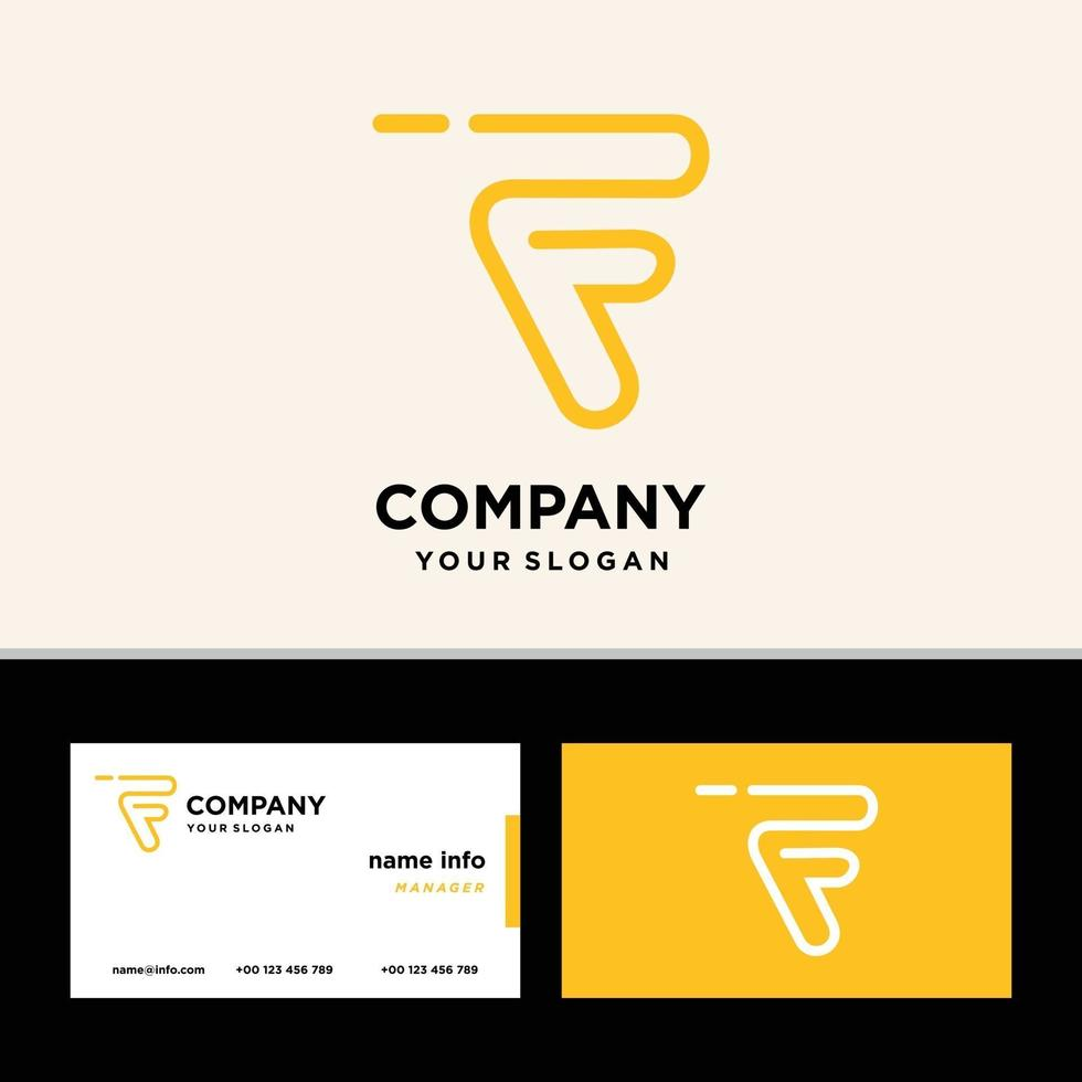 Diseño de logotipo monograma letra f con tarjeta de visita. vector