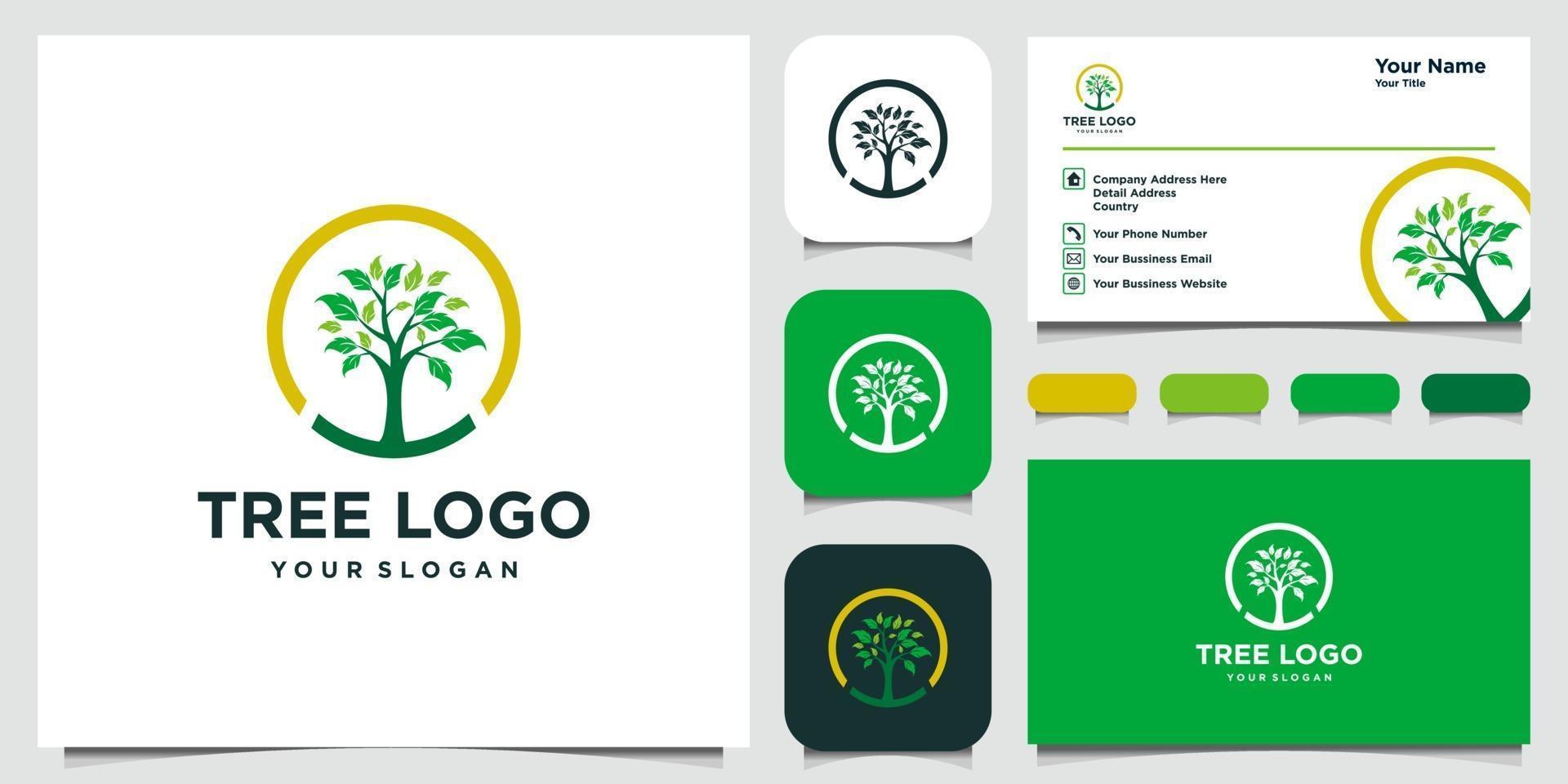 elementos de icono de árbol. plantilla de logotipo de jardín verde y tarjeta de visita vector