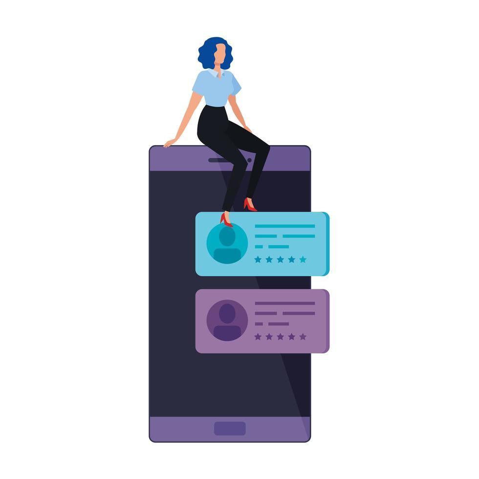 mujer de negocios, sentado, en, smartphone, aislado, icono vector