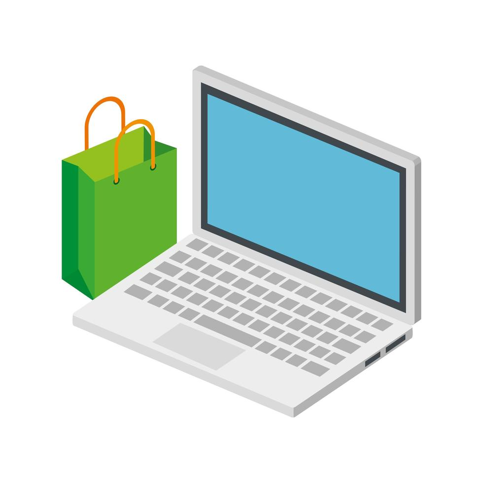 laptop computer with bag shopping isolated icon vector