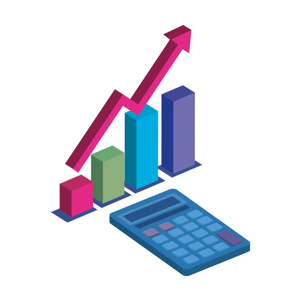 bars statistical with calculator math isolated icon vector