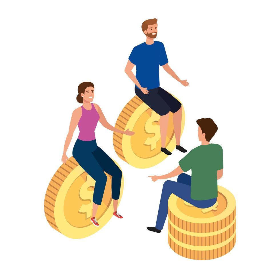 jóvenes con monedas icono aislado vector