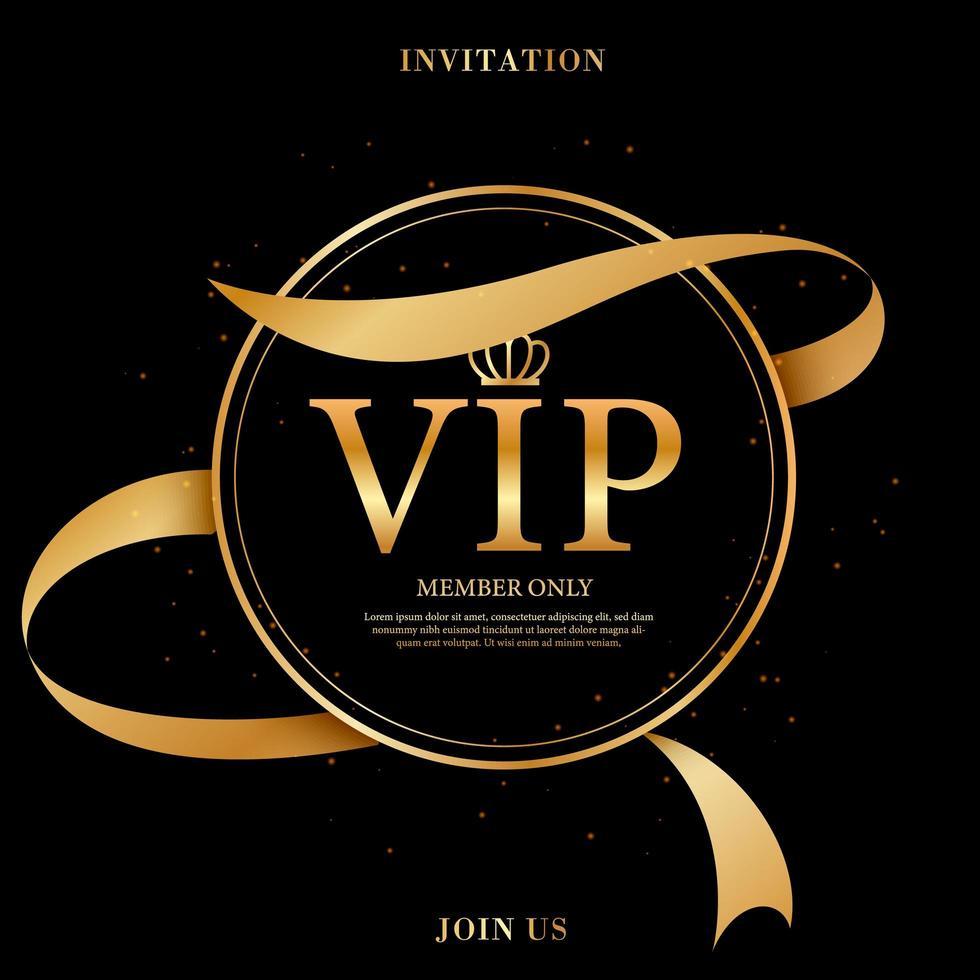 etiqueta vip de vidrio negro con marco dorado y corona vector