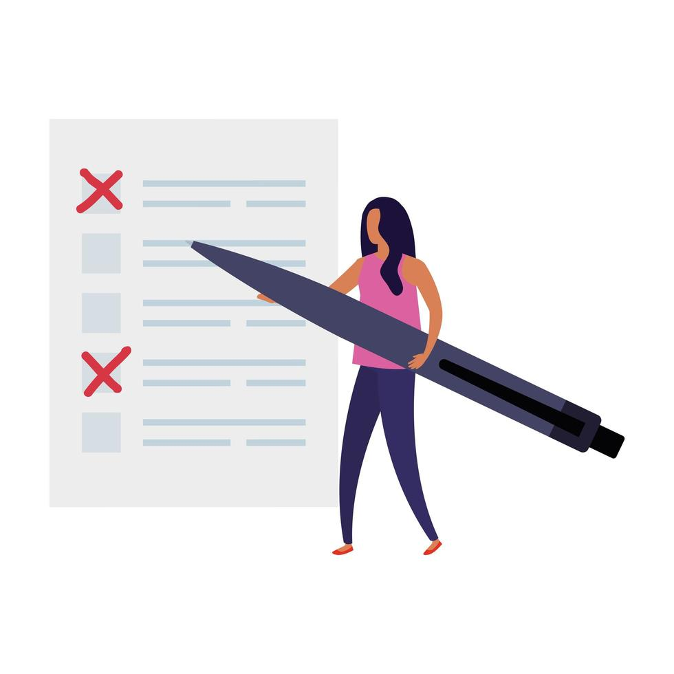 business woman with vote form and pen vector
