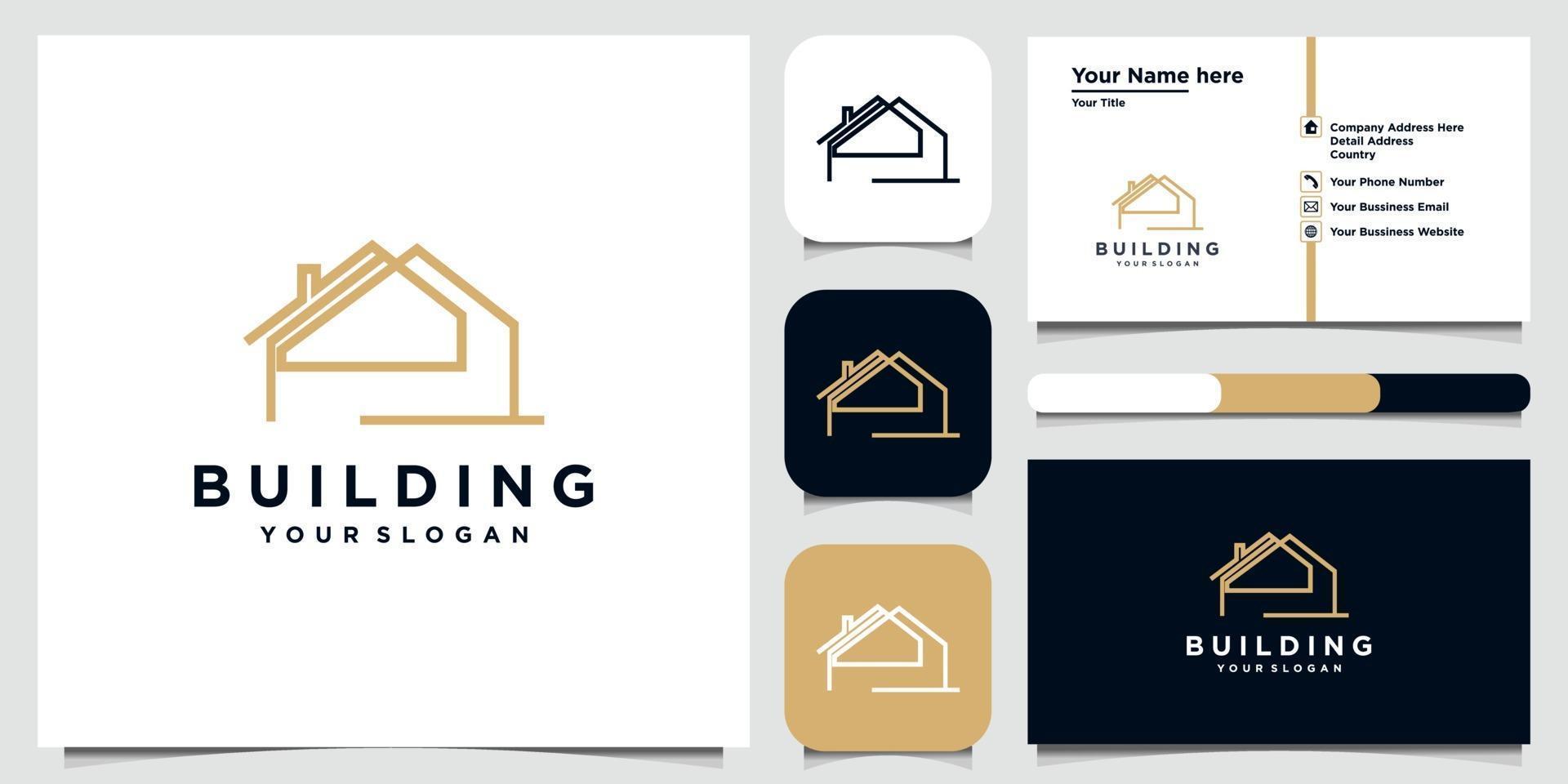 Building logo design in line art. logo design and business card set vector