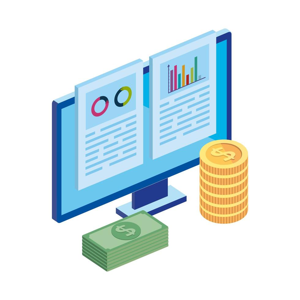 computer with infographic and stack cash vector