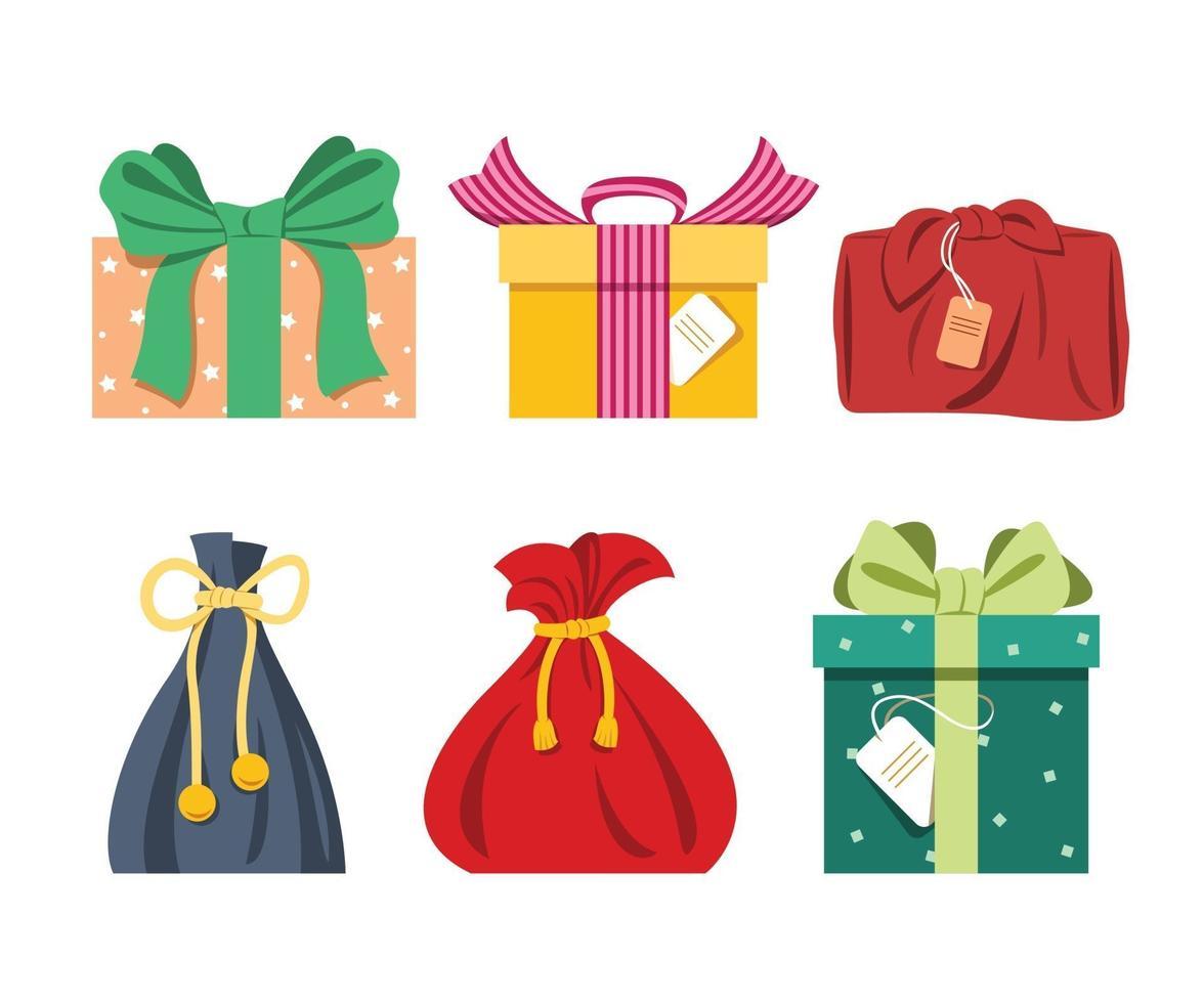 seis estilos de regalos para el elemento decorativo del festival. vector
