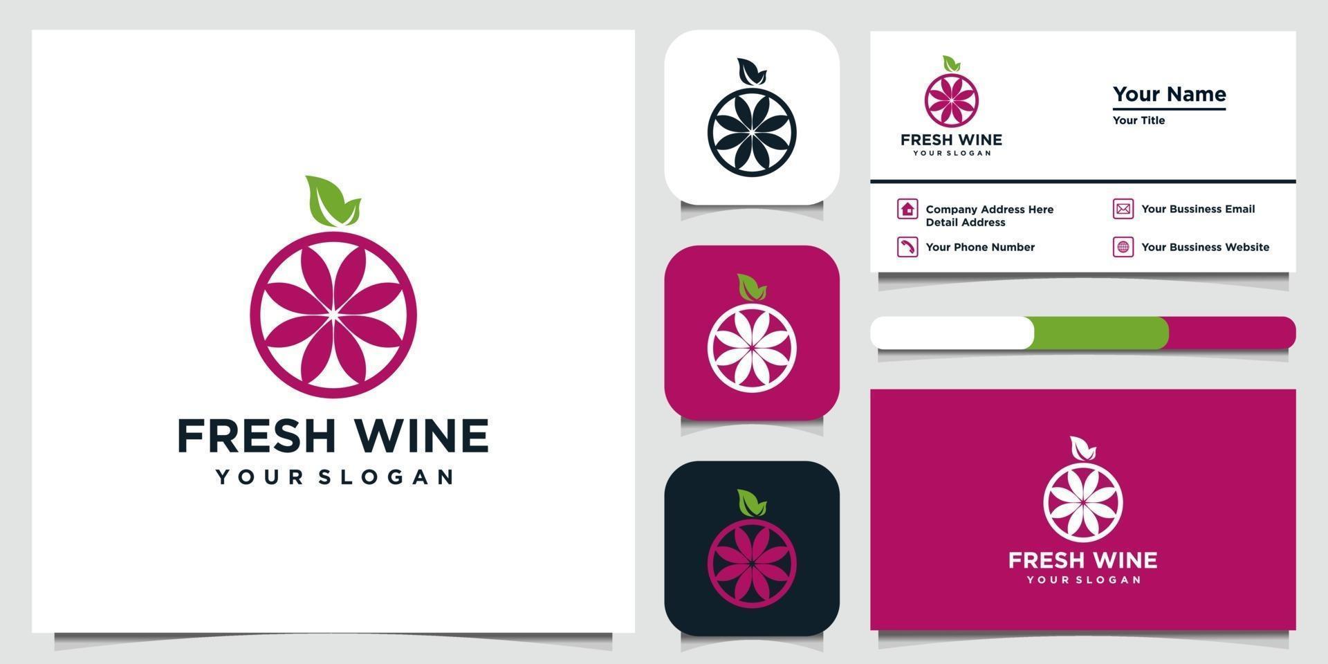 Ilustración de icono de estilo plano de alta calidad de uvas y tarjeta de visita vector