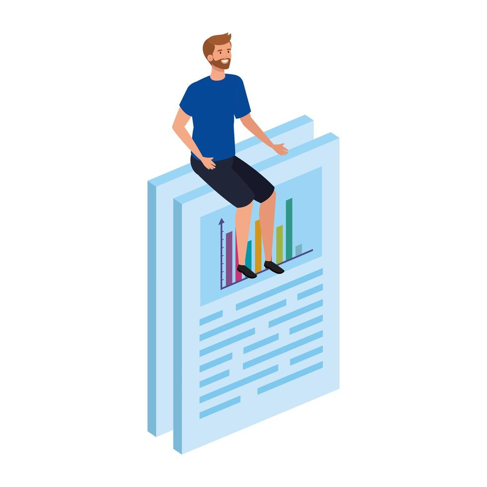young man sitting in document with infographic vector