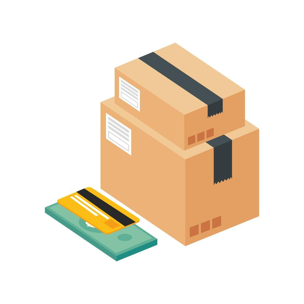 credit card with bill finance and boxes packages vector