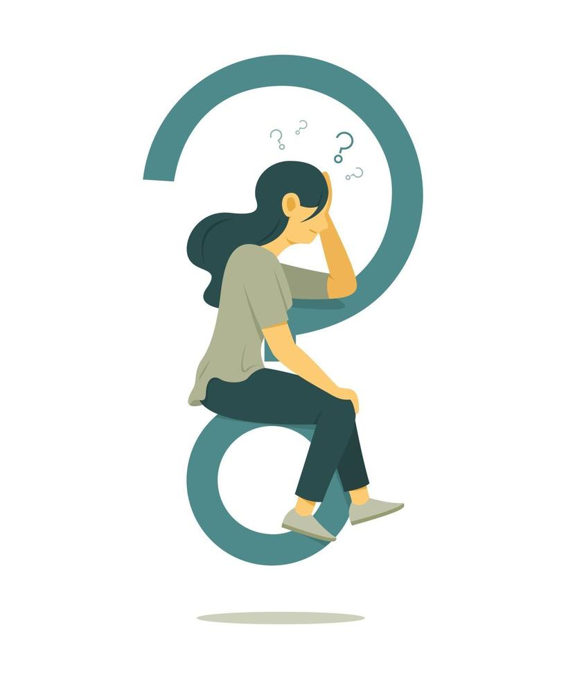 Woman Think of Question and Sitting on Big Question Mark Symbol. vector