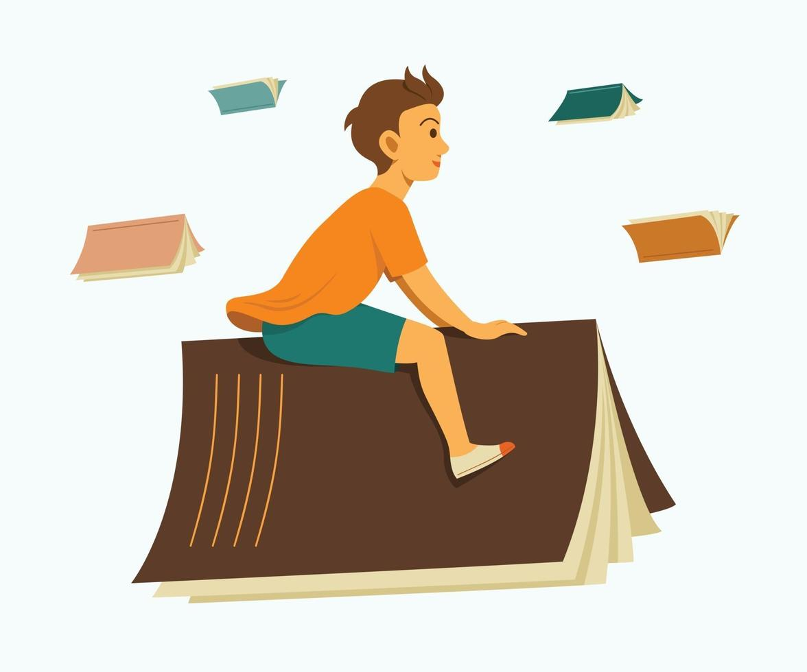 Boy Rides Big Book and Enjoys Flying to Learning Journey. vector